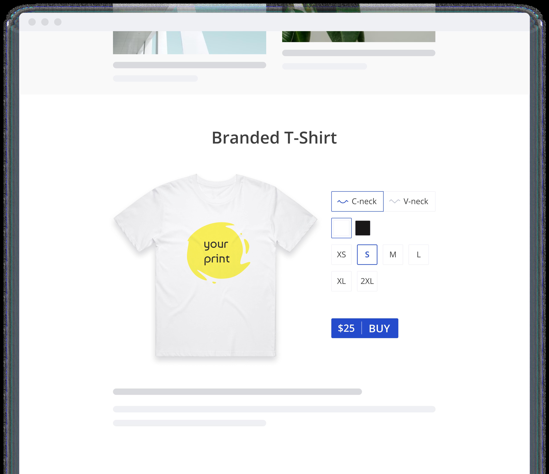 Merch38's widget embedded on a website